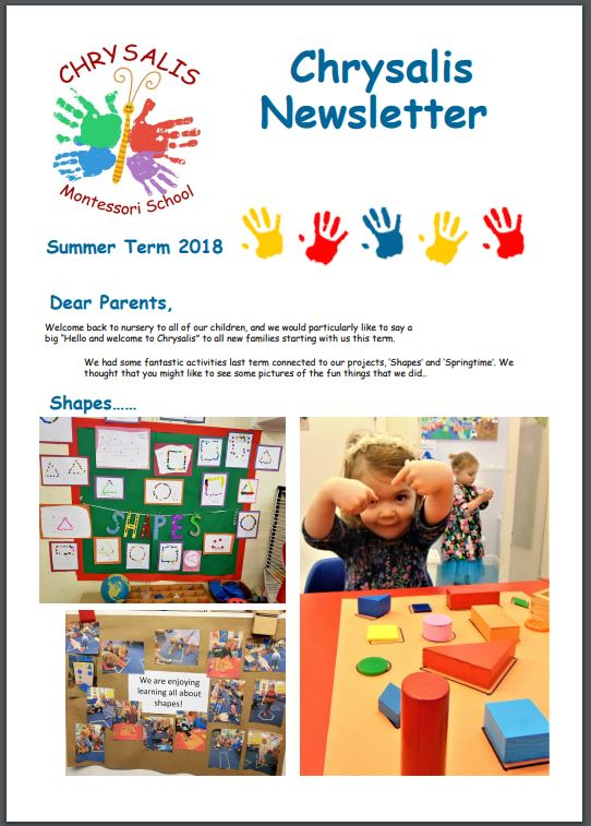 Chrysalis Summer Term 2018 Newsletter