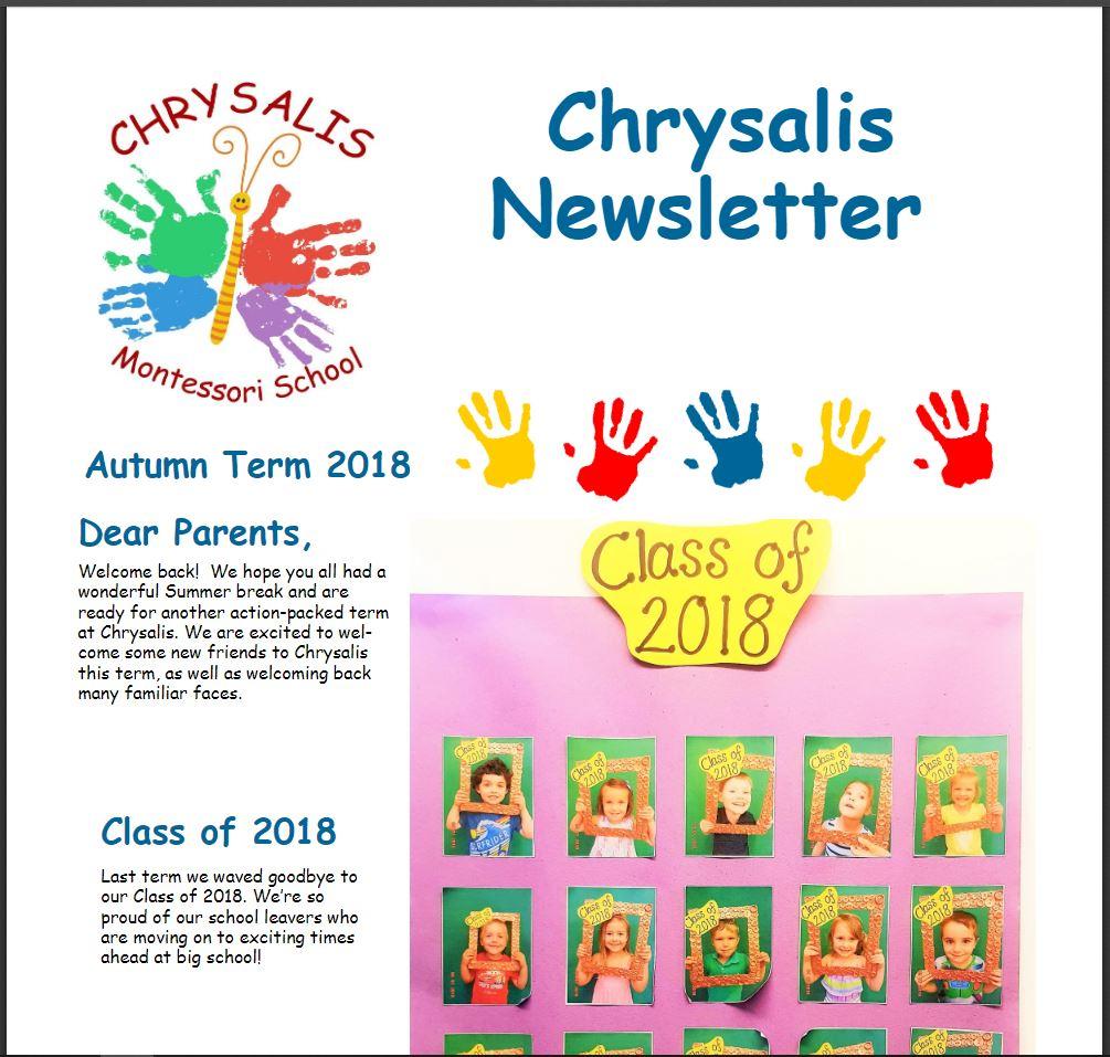 Chrysalis Autumn Term 2018 Newsletter