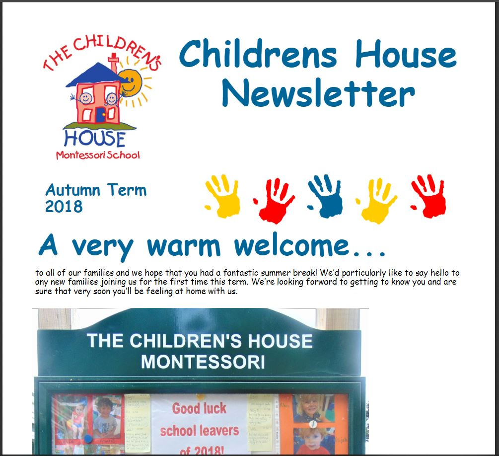 Childrens House Autumn Term 2018 Newsletter