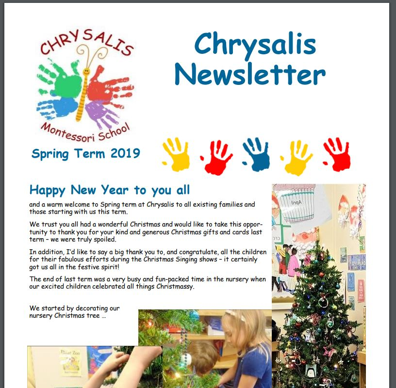 Chrysalis Spring Term Newsletter