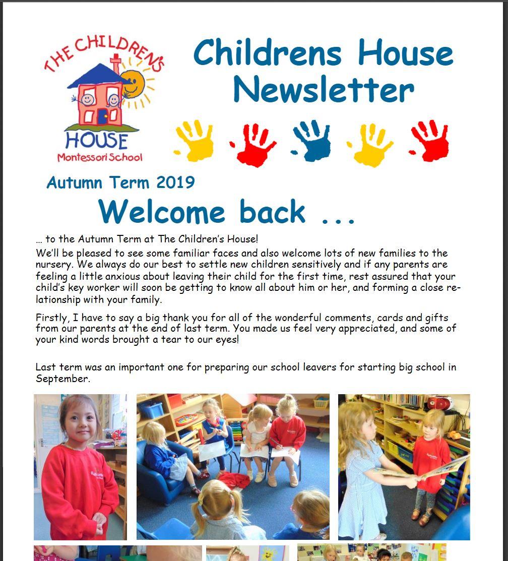 Childrens House Autumn Term Newsletter