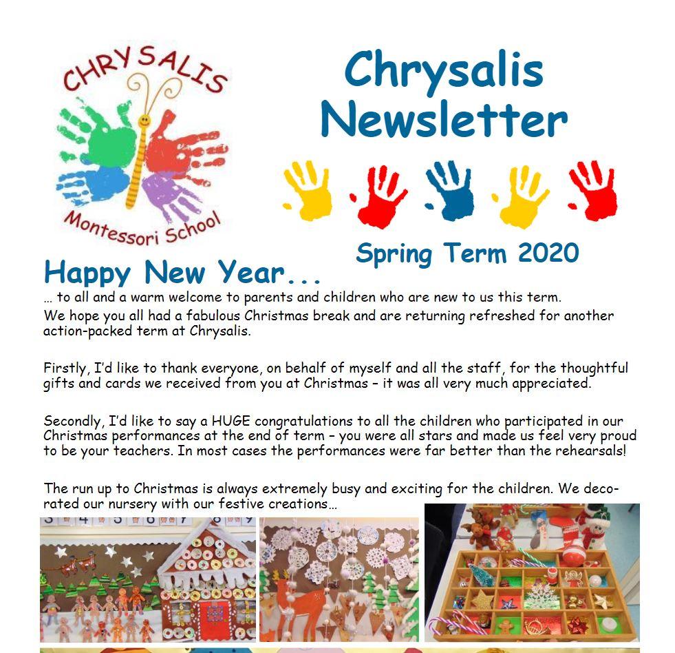 Chrysalis Spring Term Newsletter