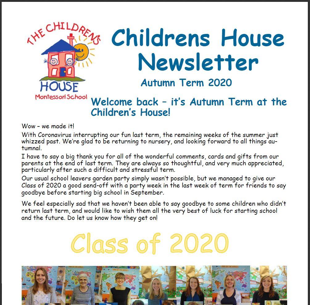 Children's House Autumn Term Newsletter