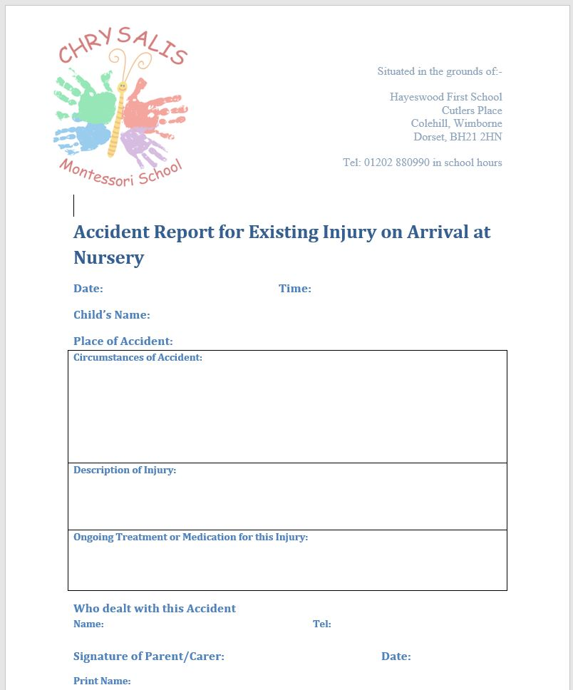Coming to nursery with an existing injury or new medicine…