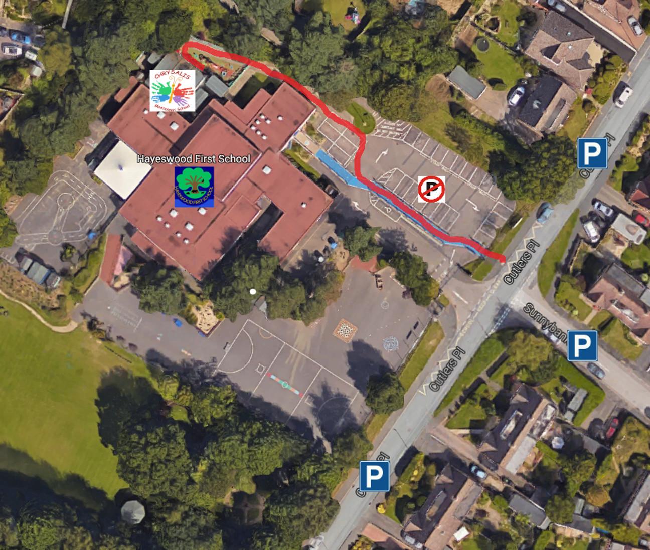 Chrysalis and Hayeswood schools map