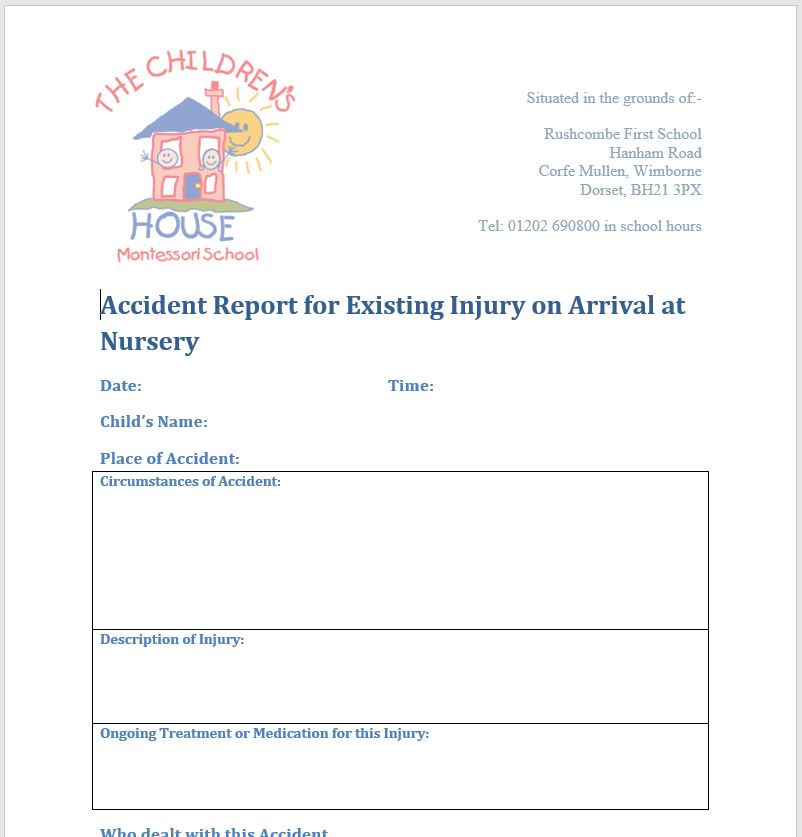 Coming to nursery with an existing injury or new medicine