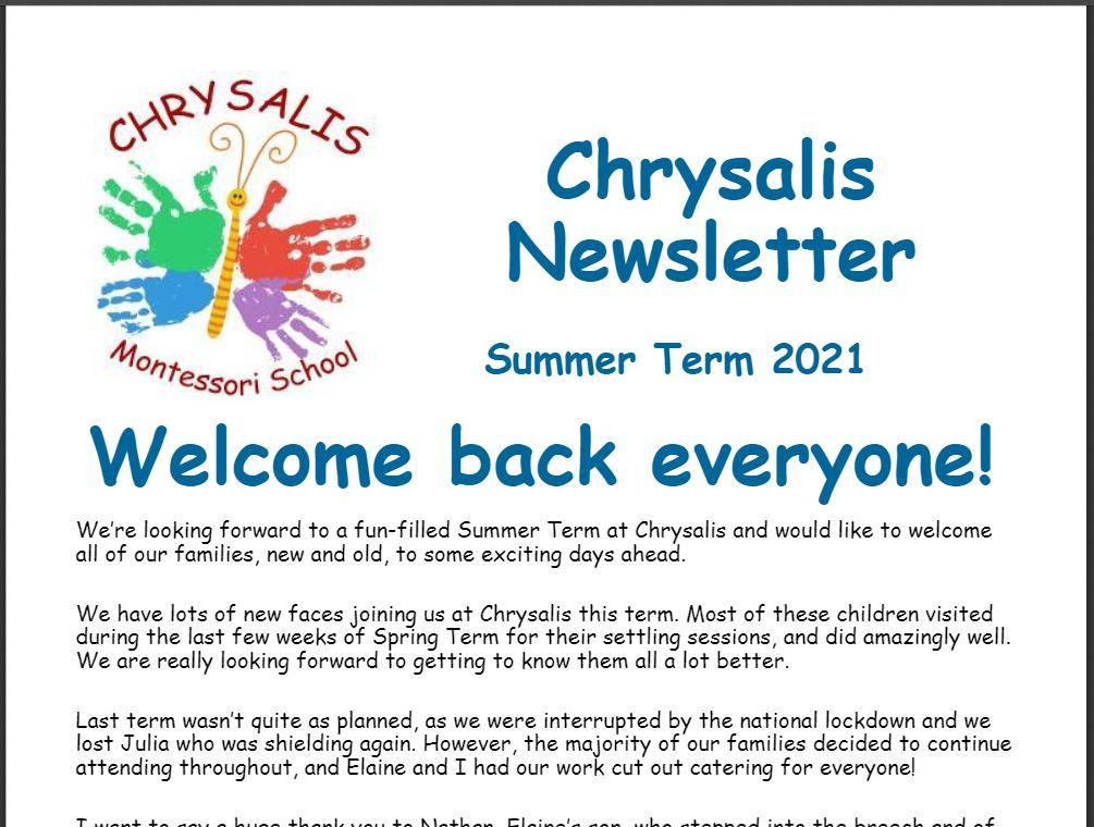 Chrysalis Summer Term Newsletter